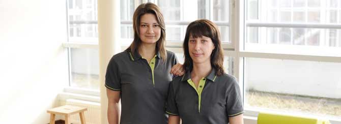 Gründerinnen und Physiotherapeutinnen Simone Adamczak (l.) und Melanie Braun (r.)